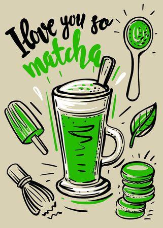Matcha latte with sketch. Tea hot drink