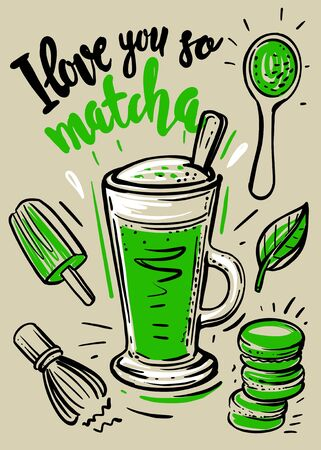 Matcha green latte with sketch Ilustrace