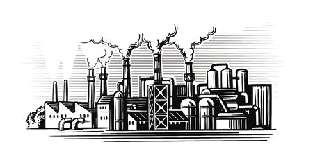 large smoking factory in sketch style Illustration
