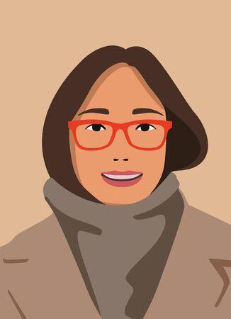 beautiful girl with glasses dressed in coat Standard-Bild - 147413387