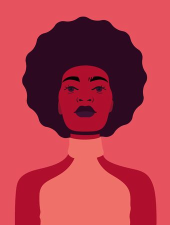 African american woman avatar on red