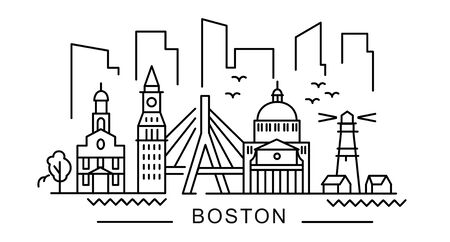 city of Boston in outline style on white