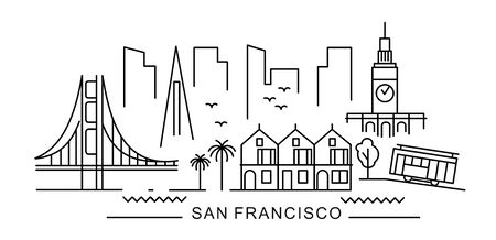 City of San Francisco in outline style on white