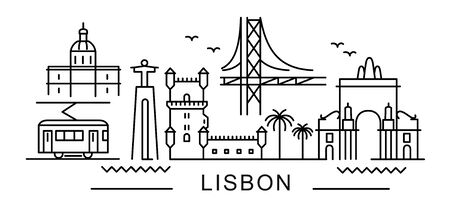 City of Lisbon in outline style on white Standard-Bild - 148149165