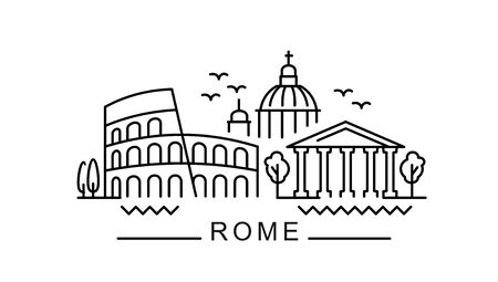 city of Rome in outline style on white background