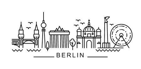 City of Berlin in outline style on white Illustration