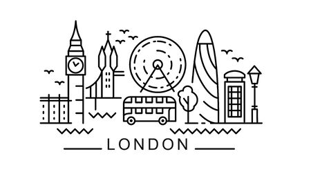 City of London in outline style on white Illustration