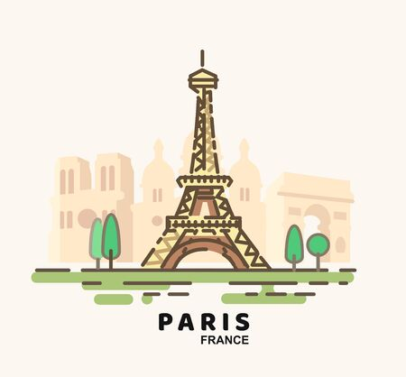 City of Paris in outline style on white Illustration
