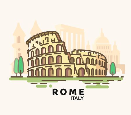 Rome cityscape with landmarks in liner style