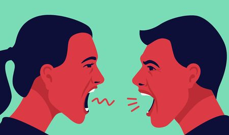 man and woman yell at each other Illustration