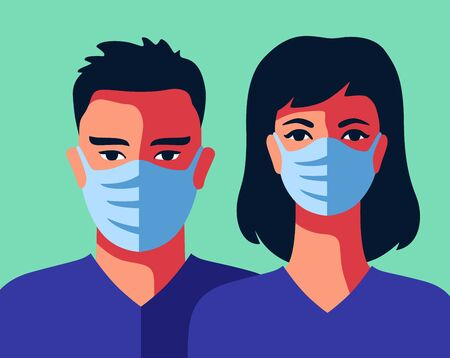 Two doctors in medical masks man and woman