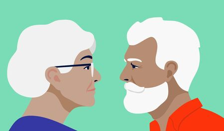 grandfather and grandmother face each other