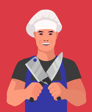 butcher stands with knives on a red background