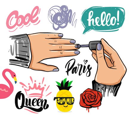 female hands on theme of cosmetics and manicure