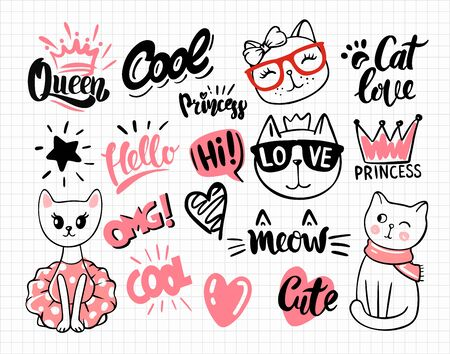 notebook with cat stickers for children and text Illustration