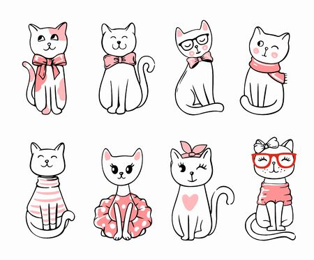 cute cats sit in row for your project