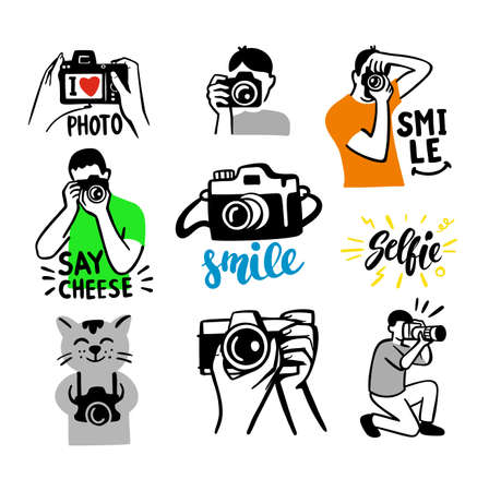 stickers on white background theme of photographer