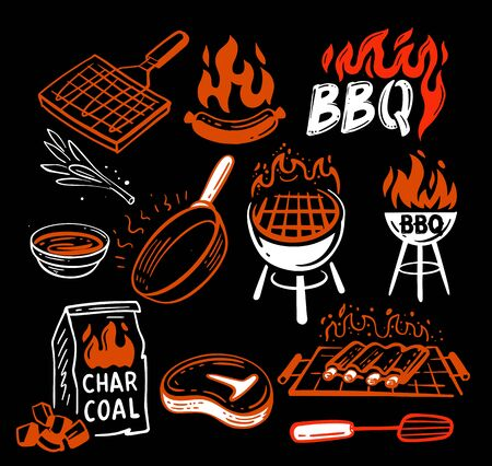 bbq stickers and emblems of grills and meat