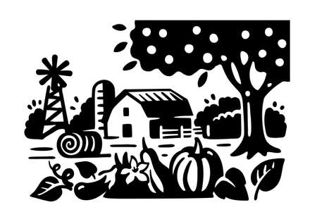 Farm in black and white colors