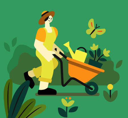 girl drives wheelbarrow with plant and watering can in garden