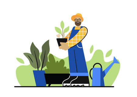 bearded man holds plant in his hands in garden Illustration