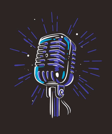 Audio record mic on black background with ray Standard-Bild - 151610564
