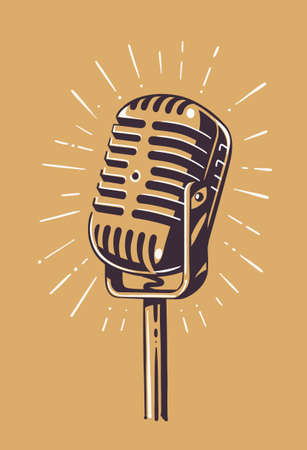 retro microphone with ray sketch style