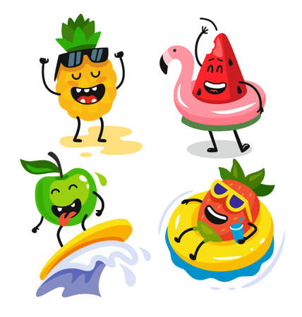 cute funny fruits relax in summer Illustration