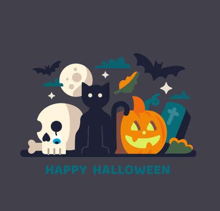 Halloween card with black cat and pumpkin