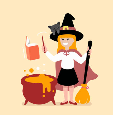 little girl witch conjures on halloween