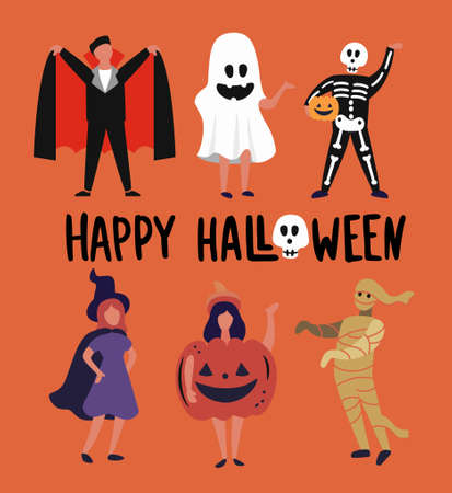 children and teenagers dressed up in Halloween