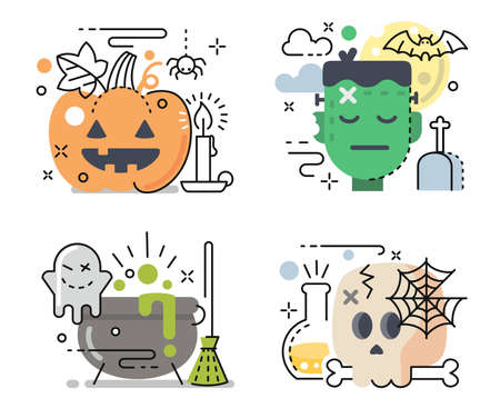 halloween icon set in linear color style