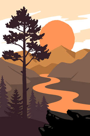 pine tree stands on ground with rocks near lake Ilustração