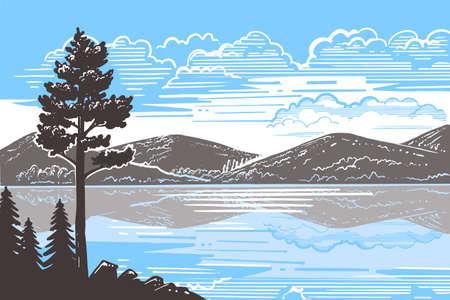 sketch landscape a pine tree stands on ground Ilustração