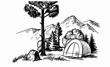 tent camping in forest near mountains