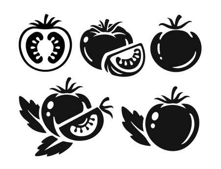 black tomatoes collection on white Ilustração