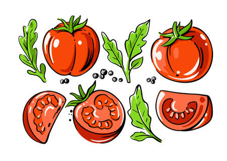 colored tomatoes set on white background