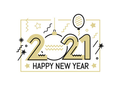 New Year gold 2021 number design
