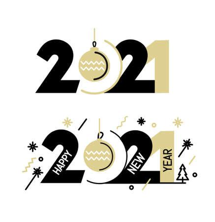 New Year emblem 2021 number design