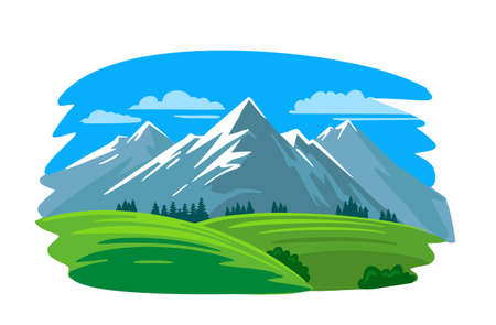 mountains with green field and fir trees