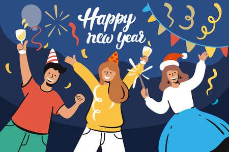 happy people celebrate new year at home Ilustração