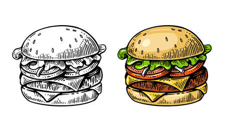 Burger in vintage style black and color