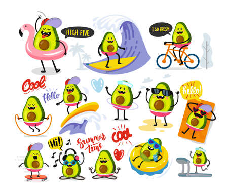 funny cute avocado large set with text