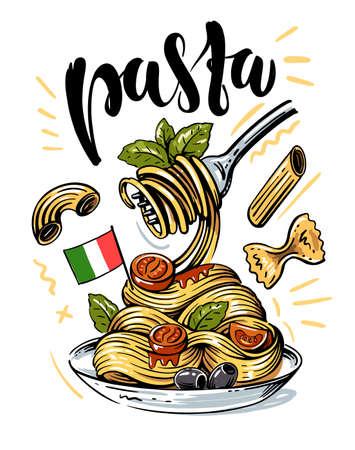 sketch Italian pasta with tomatoes on a fork Ilustração