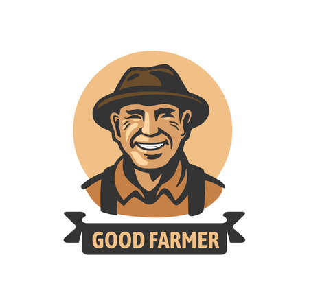 old smiling farmer with text