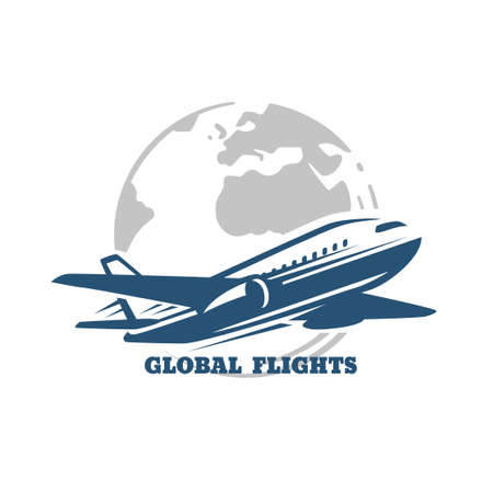 Plane flies across the Globe. Global Flight Illusztráció