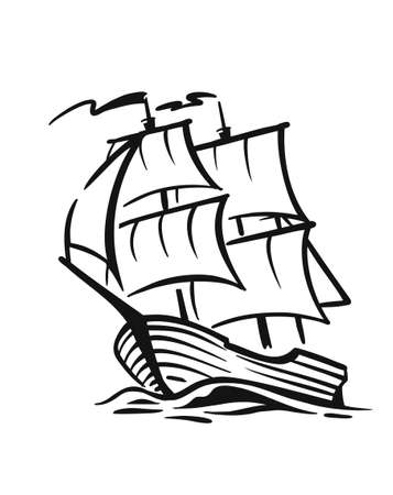 Ship with sail on waves Vecteurs