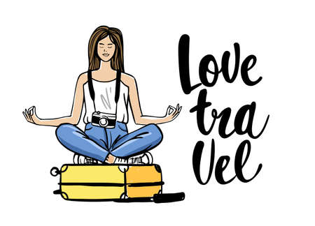 Woman sitting on suitcase in yoga pose. Travel theme in sketch style. Illustration for prints on t-shirts bags, posters, cards