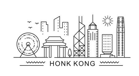 Hong Kong minimal style City Outline Skyline with Typographic. Vector cityscape with famous landmarks. Illustration for prints on bags, posters, cards. Vektoros illusztráció