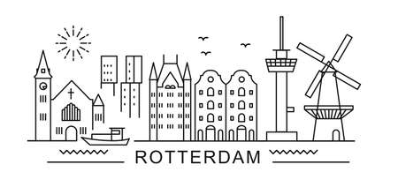 Rotterdam minimal style City Outline Skyline with Typographic. Vector cityscape with famous landmarks. Illustration for prints on bags, posters, cards.